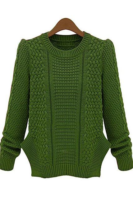 Brief Round Neck Slit Design Knitting Sweater - Green