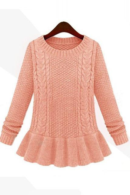 Ladylike Round Neck Cable Sweaters with Frill - Pink