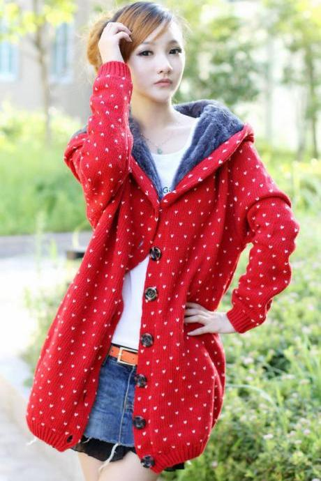 Bestselling Polka-dot Knitting Wool Hooded Cardigans - Red
