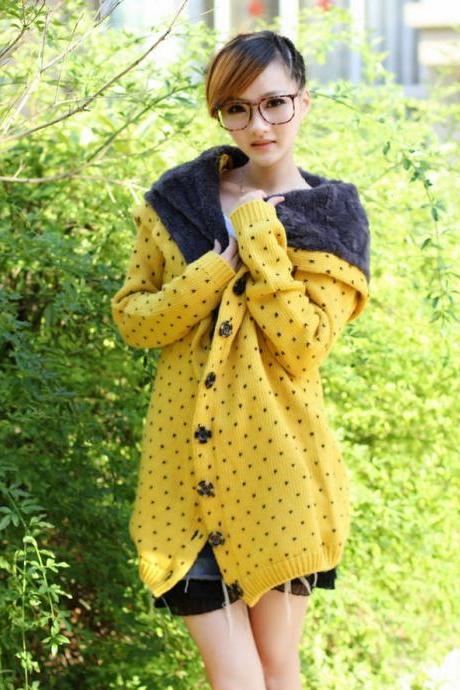 Bestselling Polka-dot Knitting Wool Hooded Cardigans - Yellow