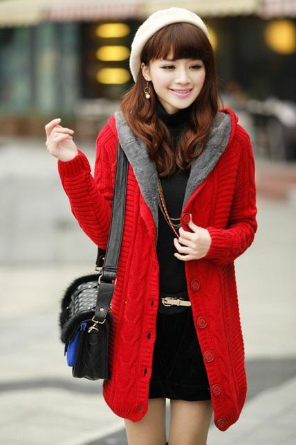 Thickened Hooded Collar Button Closure Knitting Cardigans - Red