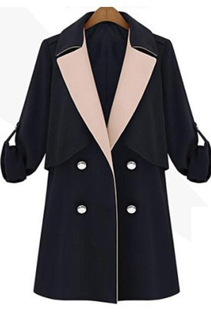 Elegant Turndown Collar Double Breasted Black Trench Coat