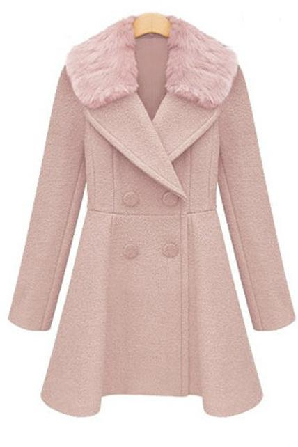 Stylish Double Breasted Trench Coat with Fur Collar - Pink