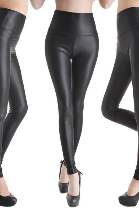 Sexy Women Faux Leather Stretch High Waist Leggings Pants Tights 4 Size 19 Colors