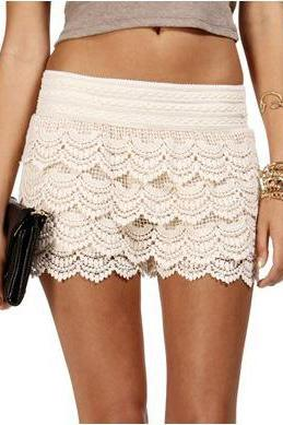 *free ship* lace Crochet shorts
