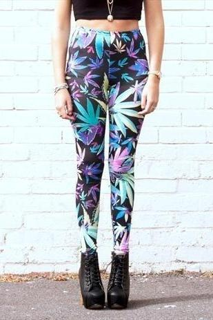 *free ship* Leaf weed leggings