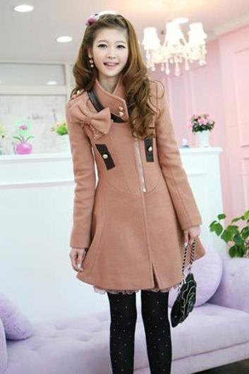A Line Long Sleeve Mandarin Collar with Bow Woman Coat