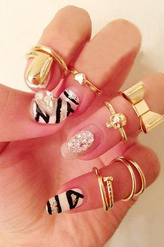 7PCS Of Chic Style Heart & Bowknot & Skull & Round & Nail Shape Women's Knuckle Rings