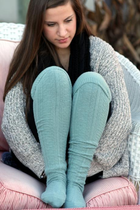 Above Knee Socks, Thick Cotton Socks, Extra Long Socks, Boot Socks,Blue, Turquoise , Knitted Socks.
