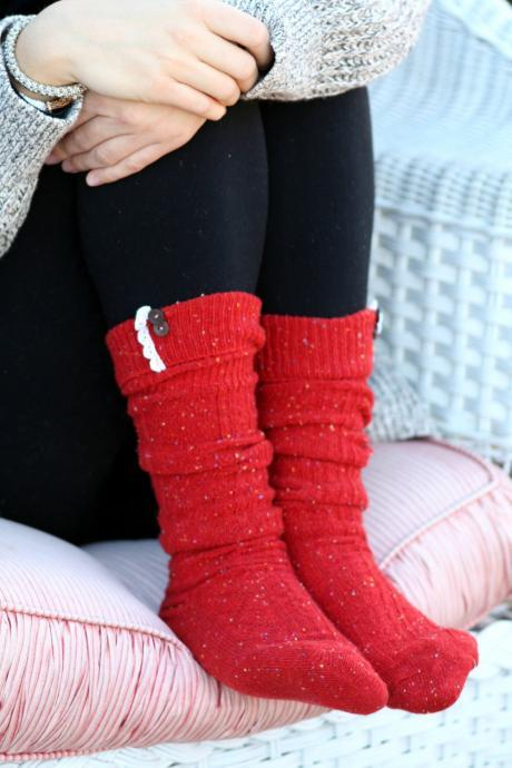 Burnt Orange Boot socks, Winter socks, Knitted socks, Socks with lace, Socks with buttons, cozy socks,Uggs socks