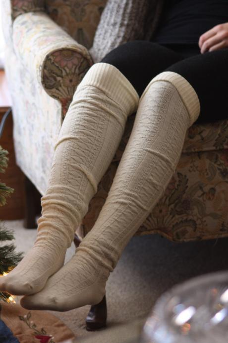 Above Knee Socks, Thick Cotton Socks, Extra Long Socks, Boot Socks, White , Ivory, Knitted Socks.