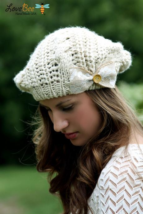 Crochet Woman's Hat- Beanie Hat, Light Tan, Ivory, Large Bow, Wood Button, Cable Knit, Knitted,lace trim , Christmas Gift, French