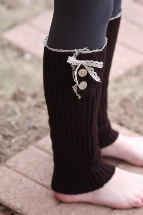 Legwarmers - Boho, Cable Knitted, Bow, Vintage lace, Chocolate Brown , Wood Button , Boot Cover, Socks, Crochet, Christmas Gift,