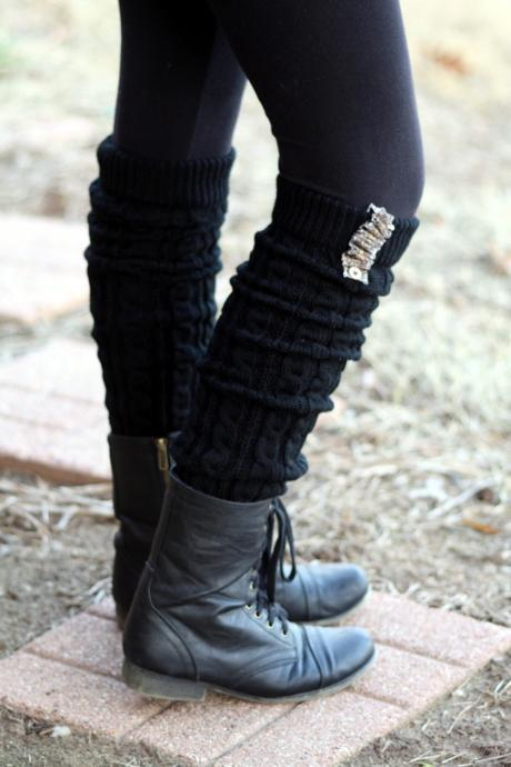 Legwarmers Animal Print, Leopard print, Cable Knitted, Black , Wood Button , Boot Cover, Socks, Crochet, Ivory Lace Trim, Christmas Gift,