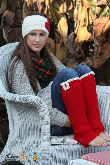 Red Women's Legwarmers - Boho , Boot Cover, Socks, Crochet, Cotton Crochet lace , Christmas Gift, Wood Button, Christmas leg warmers