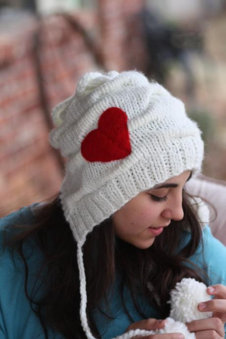 Knitted Hat- Red Heart, White hat, Crochet hat, Heart hat, Love, Chunky scarf, infinity scarf, felt, wool