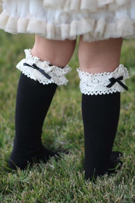 Kids Vintage socks - Black and White, Bow, Girls Vintage Lace socks, Boho, Knitted , Cotton, Organic , Boot Socks, Crochet, Ivory Lace