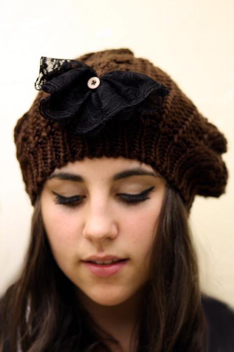Black Bow Beanie Hat- Chocolate Brown , Black lace, wood button, lace bow , Cable Knit, Knitted, Crochet, Christmas Gift.