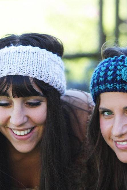 Headband - Large flower, Turquoise , Navy Blue , Knitted , Knit ,infinity, Button, Wide Headband, Turban, Christmas Gift