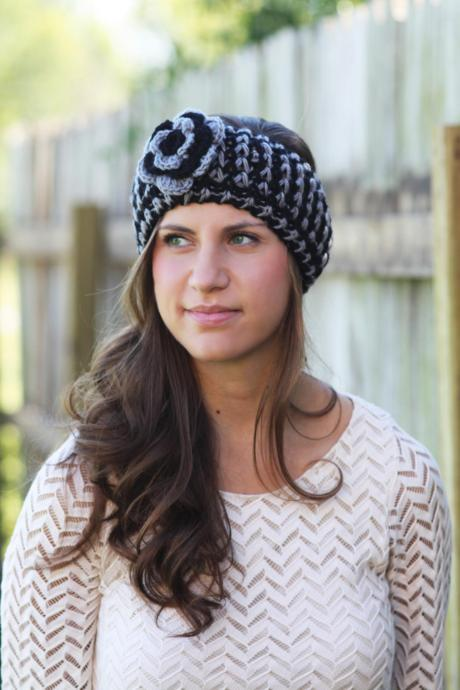 Headband - Large Flower, Black , Gray, Knitted , Knit ,infinity, Wide Headband, Turban, Christmas Gift