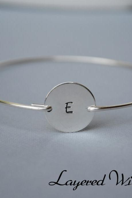 SALE TODAY- Silver Personalized Bangle- Disc Bangle- Silver Bangle- Initial Bangle- Bridesmaids Bangle- Stamped Bangle- Name Bangle