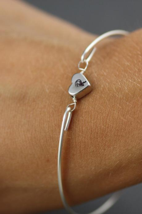 Simply Silver Personalized Heart Bangle Bracelet