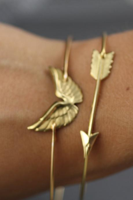 Arrow Bangle Bracelet- Wing Bangle Bracelet-Simply Gold Wing and Arrow Bangle Bracelet- Hunger Games Inspired Jewelry- Bridesmaids Gifts