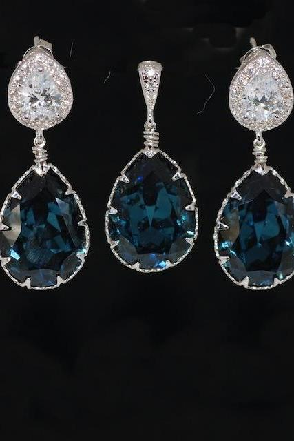 Earrings and Pendant Set (S460a) - CZ Earring with Swarovski Montana Blue Teardrop Crystal (E460), Matching Teardrop Pendant (P052)