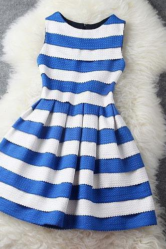 Luxury Blue and White Stripe Dress