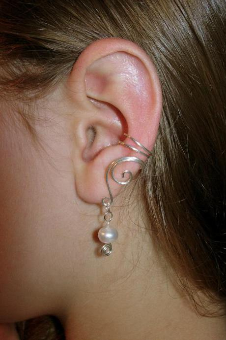 Pair of Solid Sterling Silver Ear Cuffs with Genuine Fresh Water Pearls