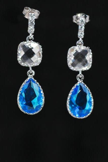 Cubic Zirconia Detailed Earring with Clear Square Glass and Blue Zircon Teardrop (E312)