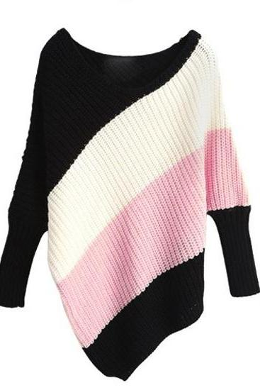 Color Block Dolman Knitting Irregular Sweater