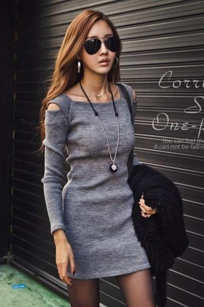 U-Neck Off Shoulder Long Sleeve Dress