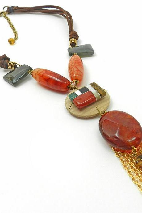 High fashion gemstone necklace - statement jewelry