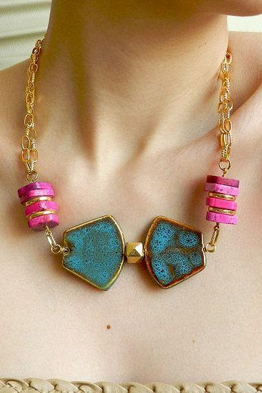 Bold colorblock statement necklace