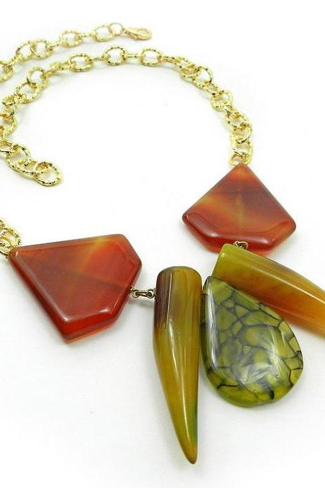 Edgy gemstone statement necklace - high fashion jewelry
