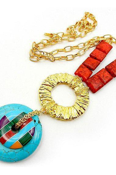 Coral and turquoise statement necklace - modern handmade jewelry