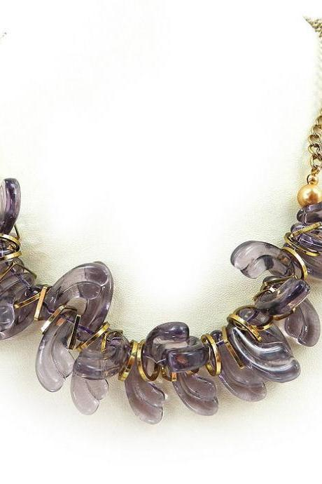 Whimsical lavender purple glass beaded necklace