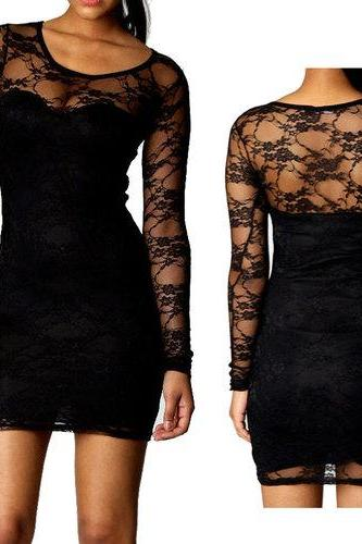 New Fashion Sexy Women Lady Floral Lace Dress Long Sleeve Cocktail Evening Mini Dress Black G0138