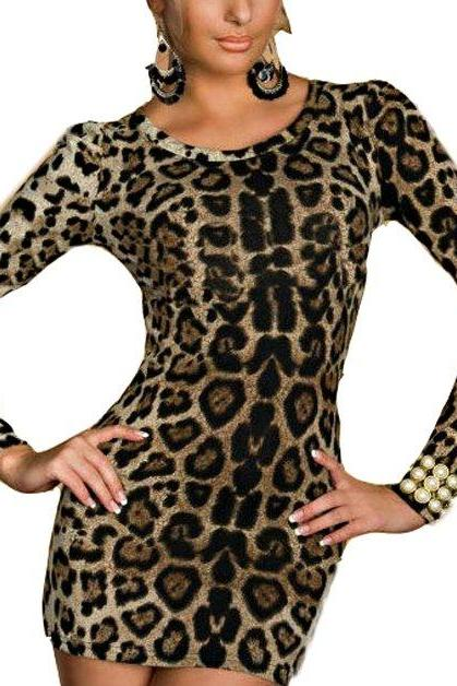 New Hot Women Leopard Long sleeve Party dress Sexy Ladies Mini Skirt Clubwear Hip Slim