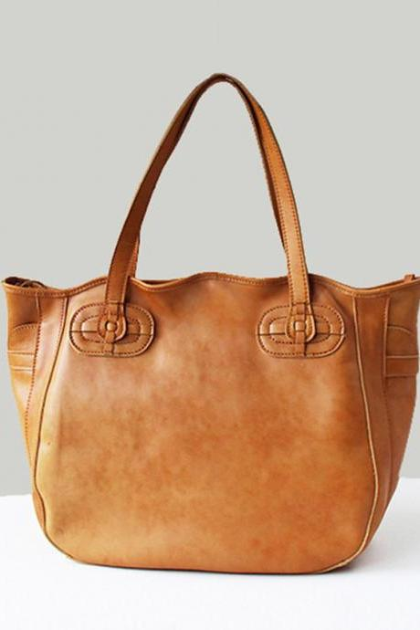 Handmade Women's Leather Bag / Leather Tote Bag / Lady Zipper / Top HandBag / Women's Gift--T76