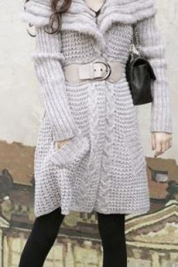 Gray Wool Blend Sweater Coat with Angora Collar