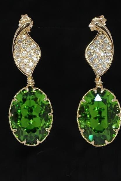 Gold Plated Cubic Zirconia Detailed Twisted Leaves Earring with Swarovski Fern Green Oval Crystal - Wedding Jewelry, Bridal Earrings (E420)