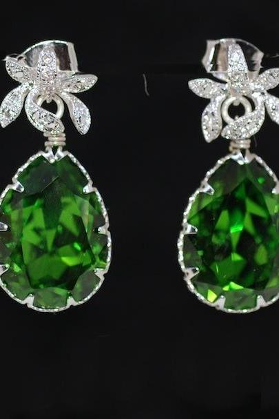 Cubic Zirconia Detailed Orchid Earring with Swarovski Fern Green Teardrop - Wedding Jewelry, Bride Earrings, Bridesmaid MOH Gift (E452)