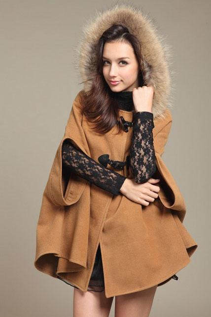 Woman Fur Hat Design Cape Coat - Khaki