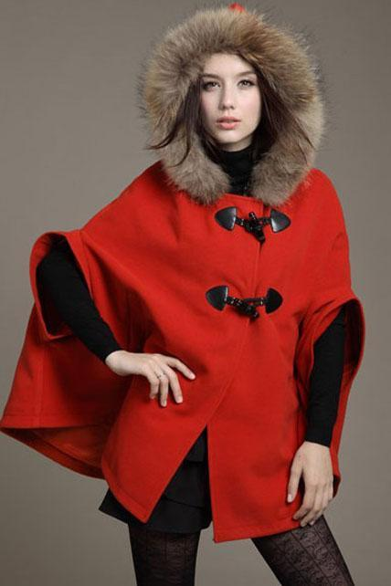 Woman Fur Hat Design Cape Coat - Red