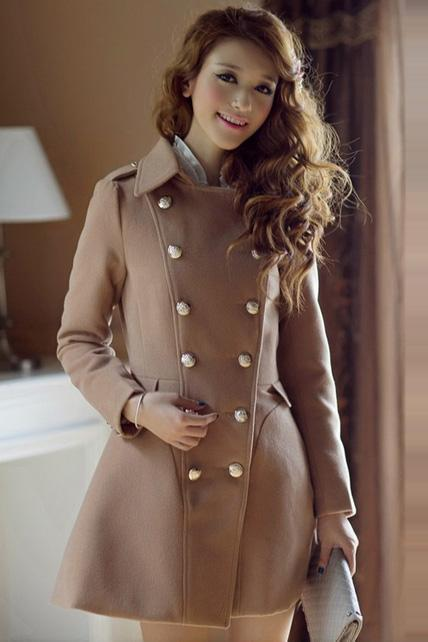 Charming Double Breasted Puff Sleeve Coat