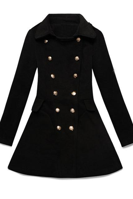 Charming Double Breasted Puff Sleeve Black Coat