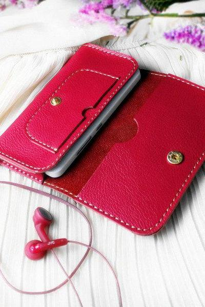 Handmade Genuine Leather wallet in Rose Red / womens wallet / iphone Wallet / phone case / iphone4s 5 / leather case / For Her / gift