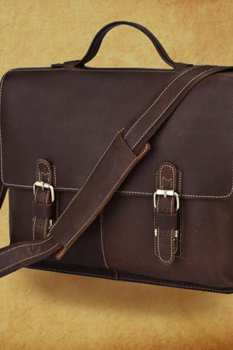 Genuine Leather Messenger bag - Laptop - Crossbody Bag - Rugged Leather Briefcase - Men's Bag --Y023